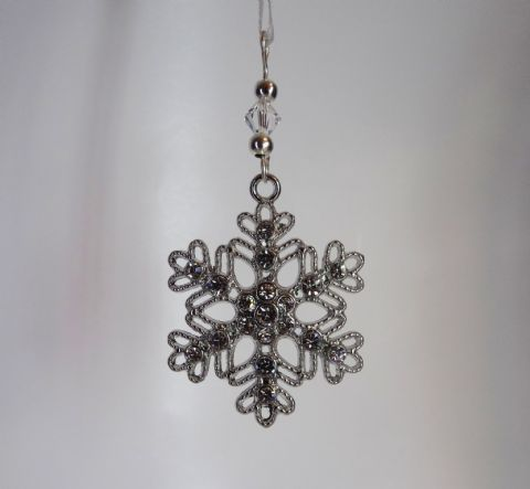 Silver Filigree Snowflake with Rhinestones & Crystal - Xmas Tree Decoration